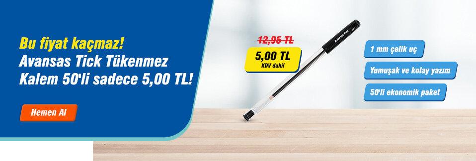 Avansas 923 Tick Tükenmez Kalem 1 mm Çelik Uçlu Siyah 50'li Paket KDV dahil sadece 5,00 TL!