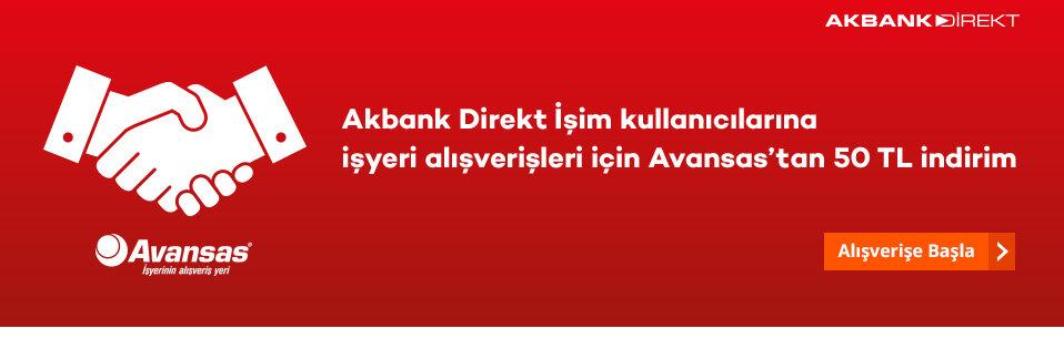 Akbank Direkt İşim müşterilerine özel 150 TL ve üzeri alışverişlerde geçerli 50 TL indirim fırsatı!