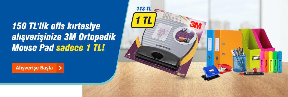 Stoklarla sınırlı 3M Ortopedik Mouse Pad 113 TL yerine sadece 1 TL!