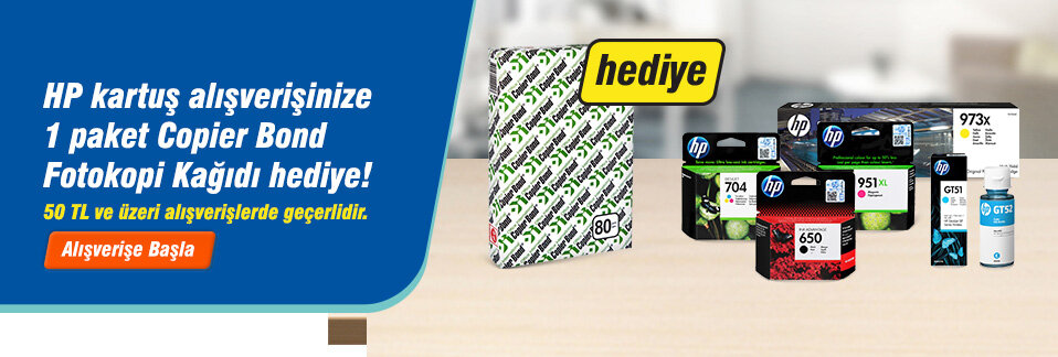 50 TL ve üzeri tutarda HP kartuş alana Copier Bond A4 Fotokopi Kağıdı hediye!